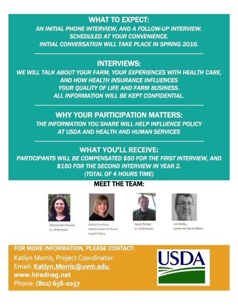insurance flyer earn 200 for participation in usdauvm interview on farmer health