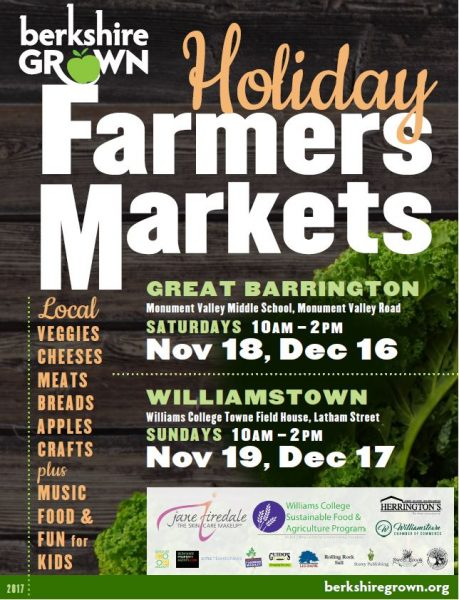Saturdays, 10:00-2:00, November 18th, December 16th, January 13th and February 17th in Great Barrington at Monument Valley Middle School, 313 Monument Valley Rd. ~~~ Sundays, 10:00-2:00, November 19th, and December 17th in Williamstown at Williams College Towne Field House, 82 Latham Street